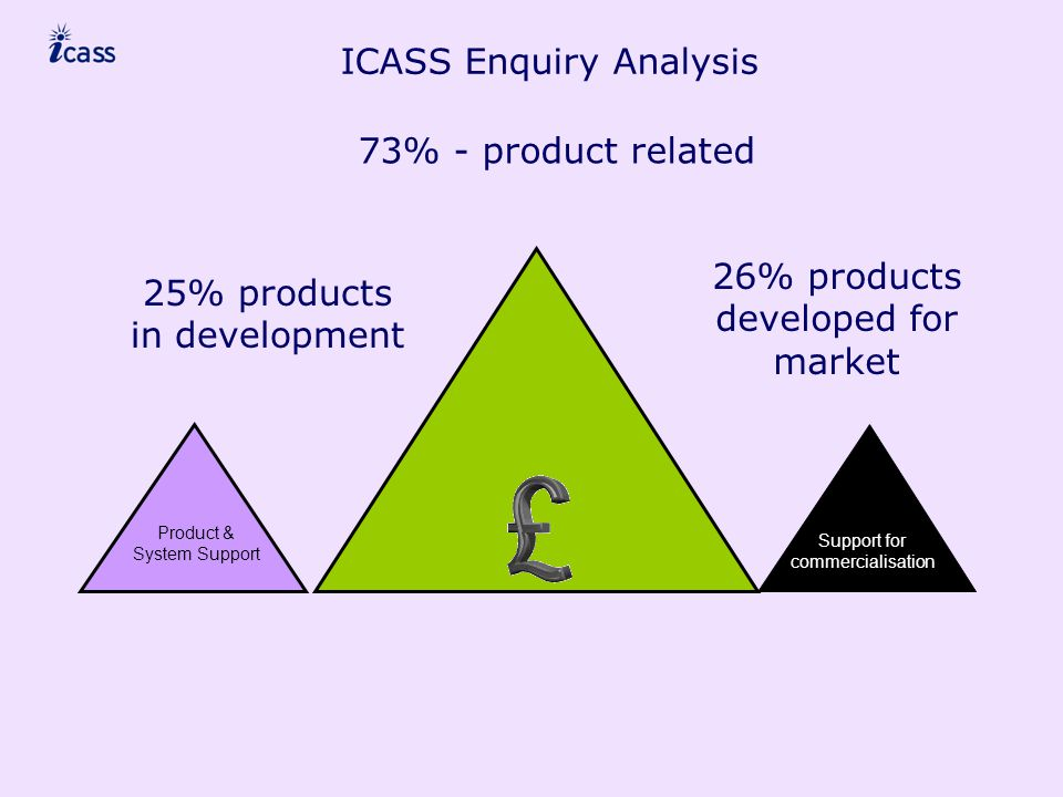 ICASS Enquiry Analysis Support for commercialisation Product & System Support 73% - product related 25% products in development 26% products developed for market