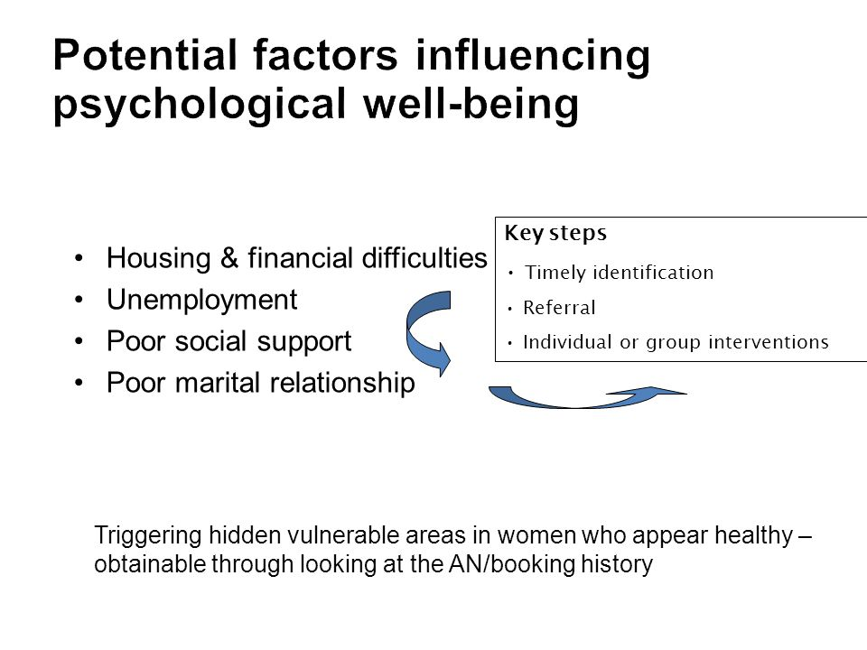 Housing & financial difficulties Unemployment Poor social support Poor marital relationship Triggering hidden vulnerable areas in women who appear healthy – obtainable through looking at the AN/booking history Key steps Timely identification Referral Individual or group interventions