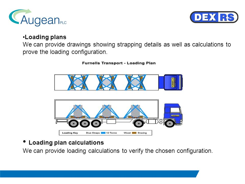 Loading plans We can provide drawings showing strapping details as well as calculations to prove the loading configuration.