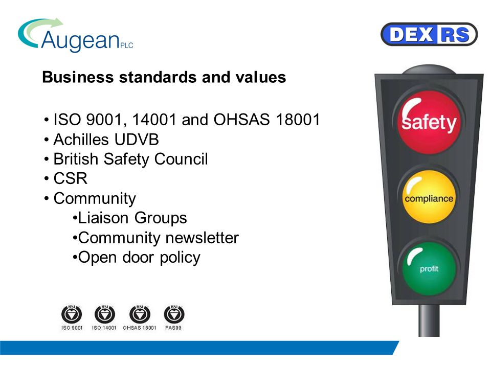 Business standards and values ISO 9001, 14001 and OHSAS 18001 Achilles UDVB British Safety Council CSR Community Liaison Groups Community newsletter Open door policy