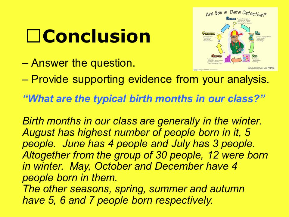Conclusion –Answer the question. –Provide supporting evidence from your analysis.
