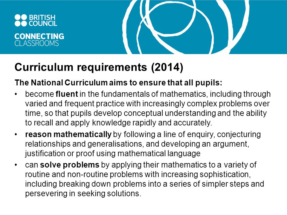 Curriculum requirements (2014) The National Curriculum aims to ensure that all pupils: become fluent in the fundamentals of mathematics, including through varied and frequent practice with increasingly complex problems over time, so that pupils develop conceptual understanding and the ability to recall and apply knowledge rapidly and accurately.