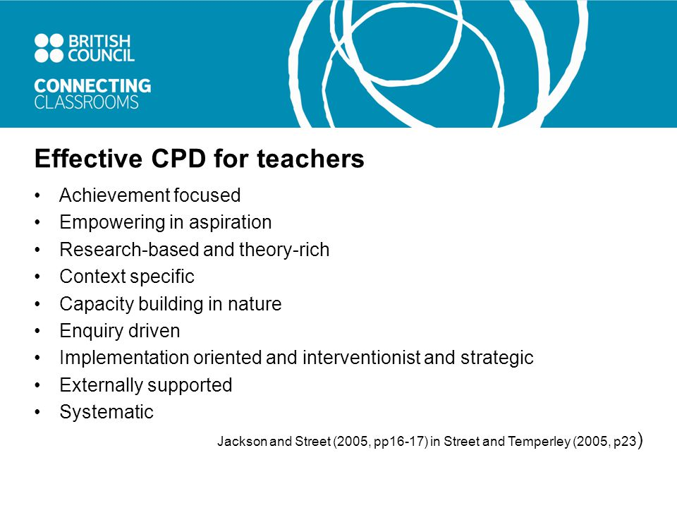 Effective CPD for teachers Achievement focused Empowering in aspiration Research-based and theory-rich Context specific Capacity building in nature Enquiry driven Implementation oriented and interventionist and strategic Externally supported Systematic Jackson and Street (2005, pp16-17) in Street and Temperley (2005, p23 )