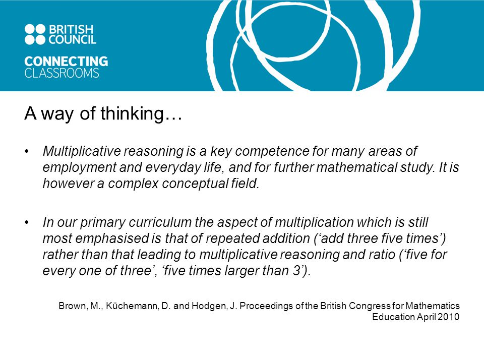 A way of thinking… Multiplicative reasoning is a key competence for many areas of employment and everyday life, and for further mathematical study.