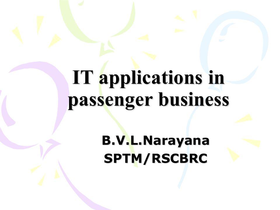 IT applications in passenger business B.V.L.NarayanaSPTM/RSCBRC