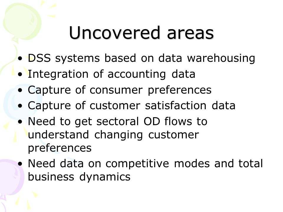 Uncovered areas DSS systems based on data warehousing Integration of accounting data Capture of consumer preferences Capture of customer satisfaction