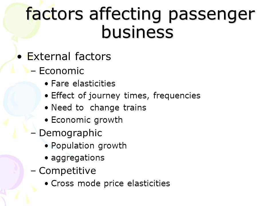 factors affecting passenger business factors affecting passenger business External factors –Economic Fare elasticities Effect of journey times, freque