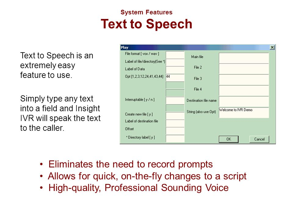 System Features Text to Speech Text to Speech is an extremely easy feature to use. Simply type any text into a field and Insight IVR will speak the te