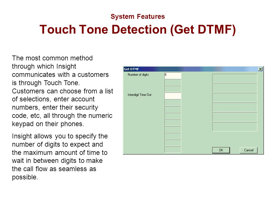 System Features Touch Tone Detection (Get DTMF) The most common method through which Insight communicates with a customers is through Touch Tone. Cust