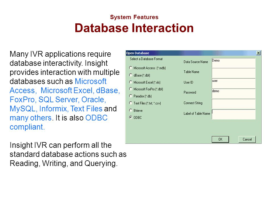 System Features Database Interaction Many IVR applications require database interactivity. Insight provides interaction with multiple databases such a