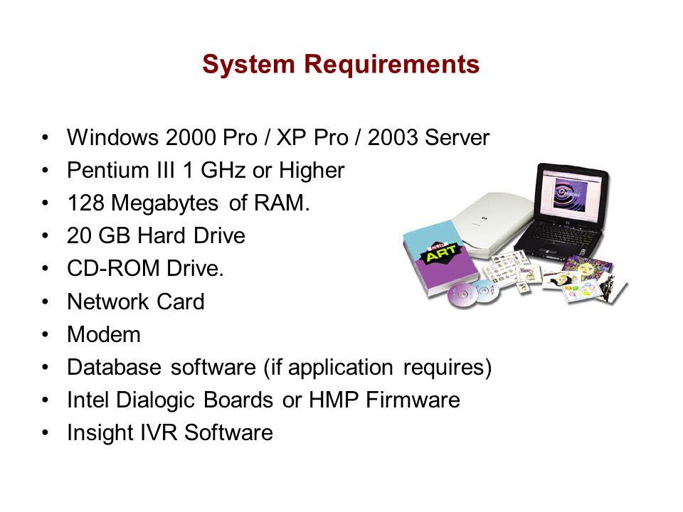 System Requirements Windows 2000 Pro / XP Pro / 2003 Server Pentium III 1 GHz or Higher 128 Megabytes of RAM. 20 GB Hard Drive CD-ROM Drive. Network C