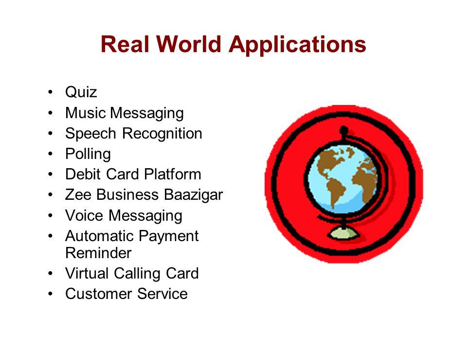 Real World Applications Quiz Music Messaging Speech Recognition Polling Debit Card Platform Zee Business Baazigar Voice Messaging Automatic Payment Re