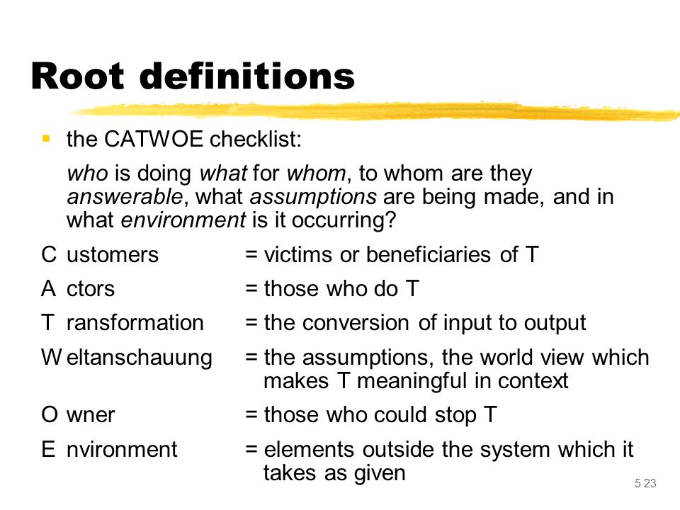 5.23 Root definitions  the CATWOE checklist: who is doing what for whom, to whom are they answerable, what assumptions are being made, and in what en