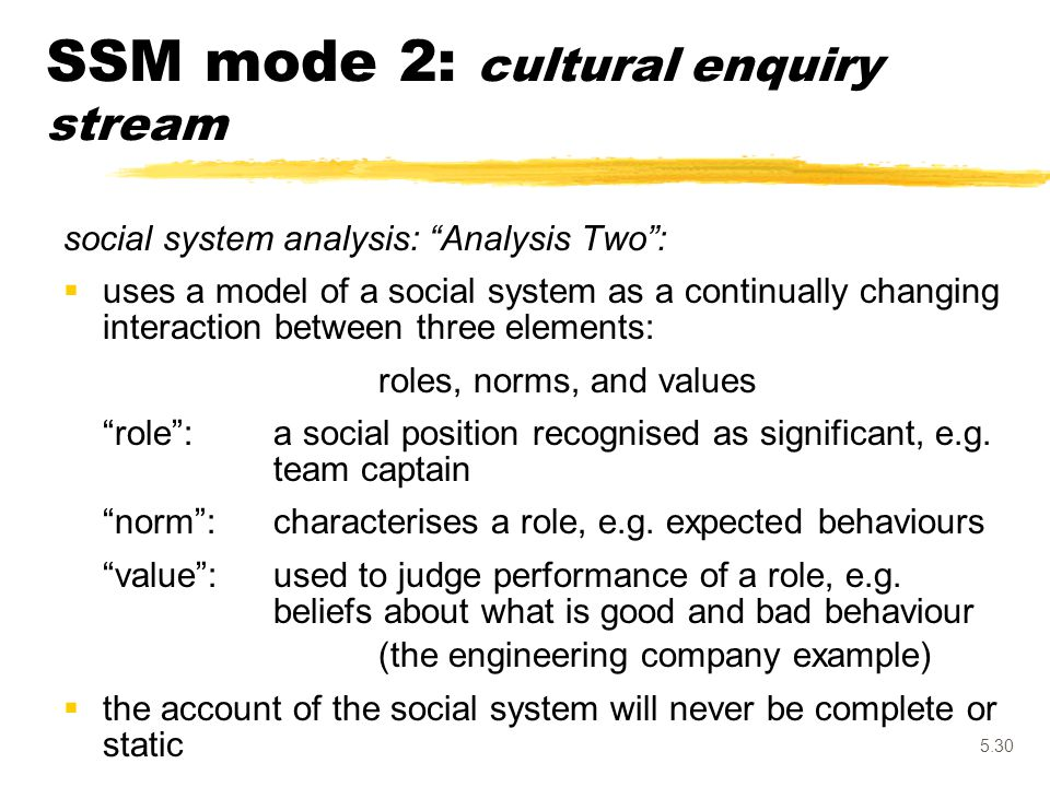 "5.30 social system analysis: ""Analysis Two"":  uses a model of a social system as a continually changing interaction between three elements: roles, no"