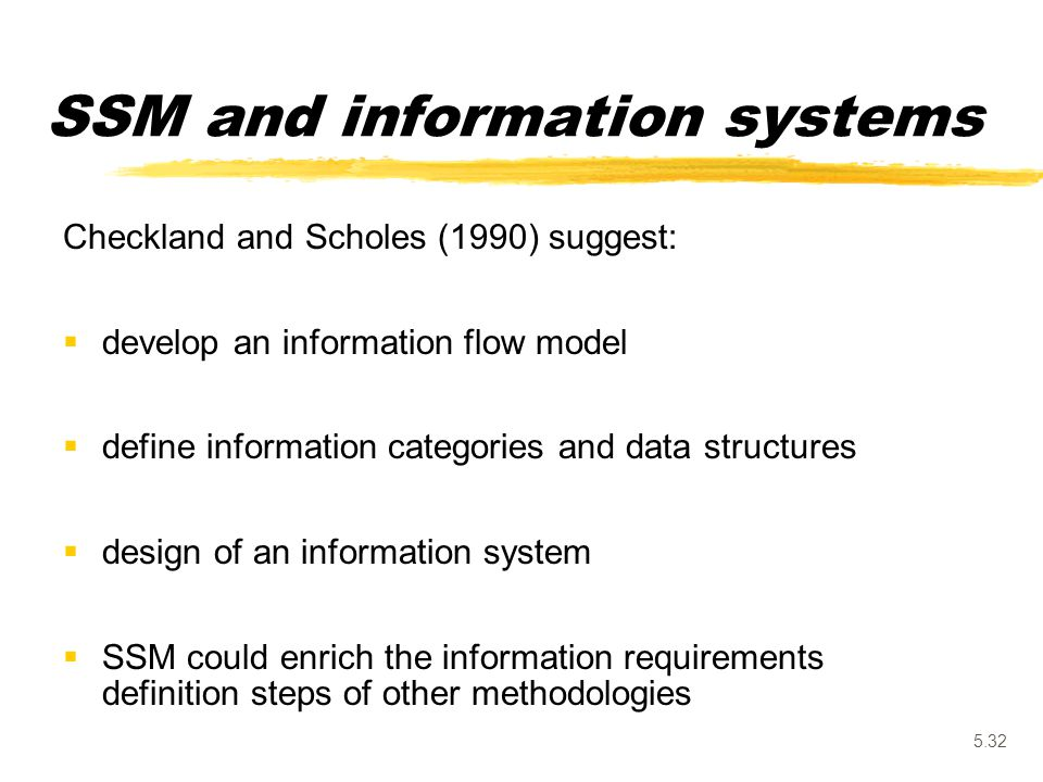 5.32 Checkland and Scholes (1990) suggest:  develop an information flow model  define information categories and data structures  design of an info