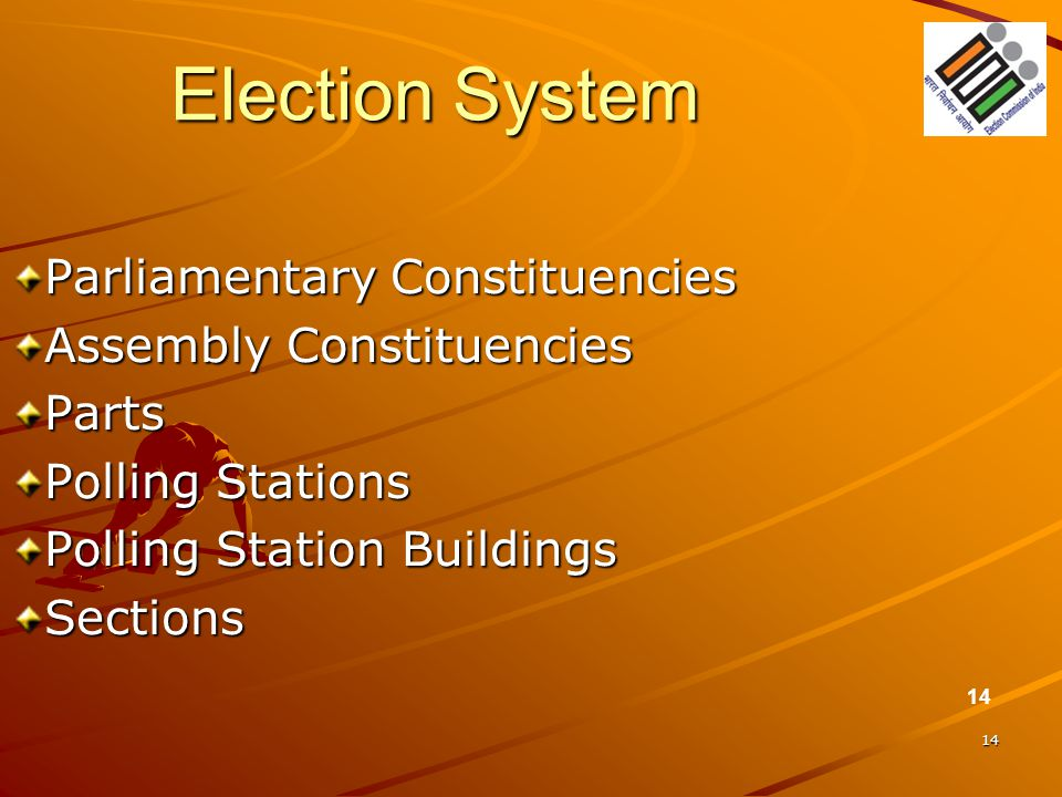 14 Election System Parliamentary Constituencies Assembly Constituencies Parts Polling Stations Polling Station Buildings Sections 14