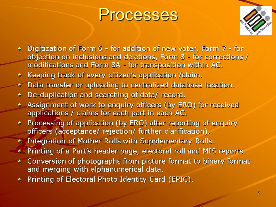 Processes Digitization of Form 6 - for addition of new voter, Form 7 - for objection on inclusions and deletions, Form 8 - for corrections / modificat