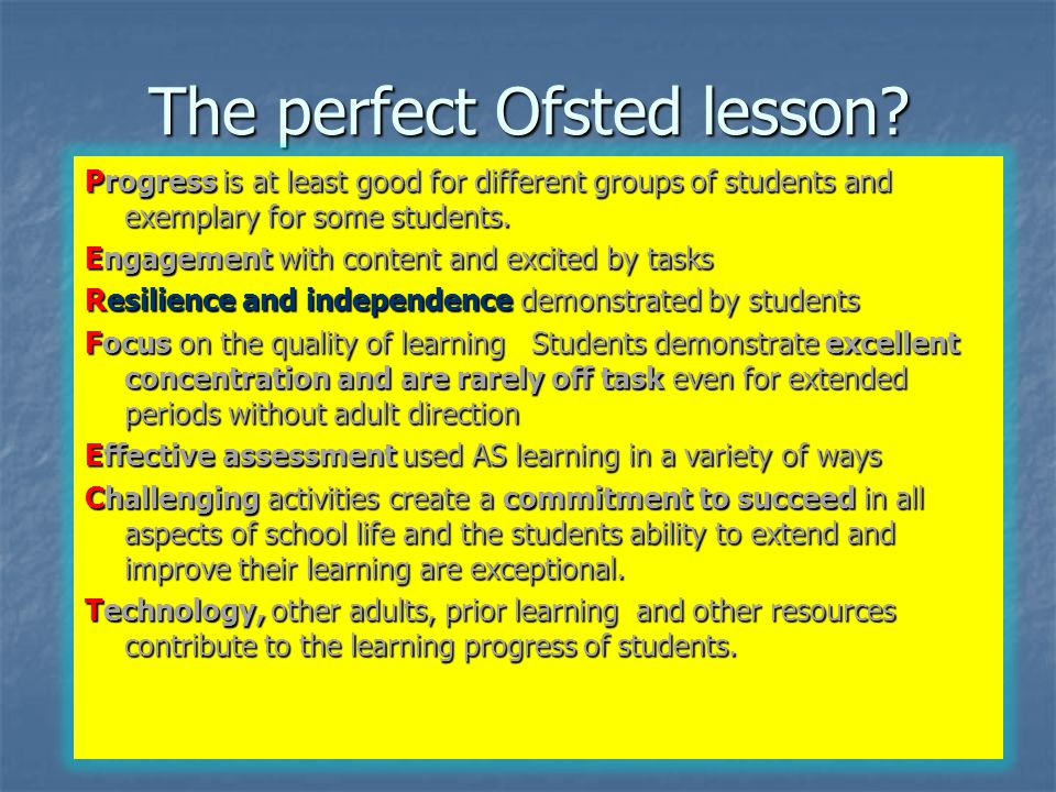 The perfect Ofsted lesson.