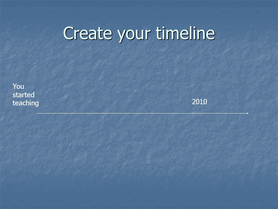 Create your timeline 2010 You started teaching