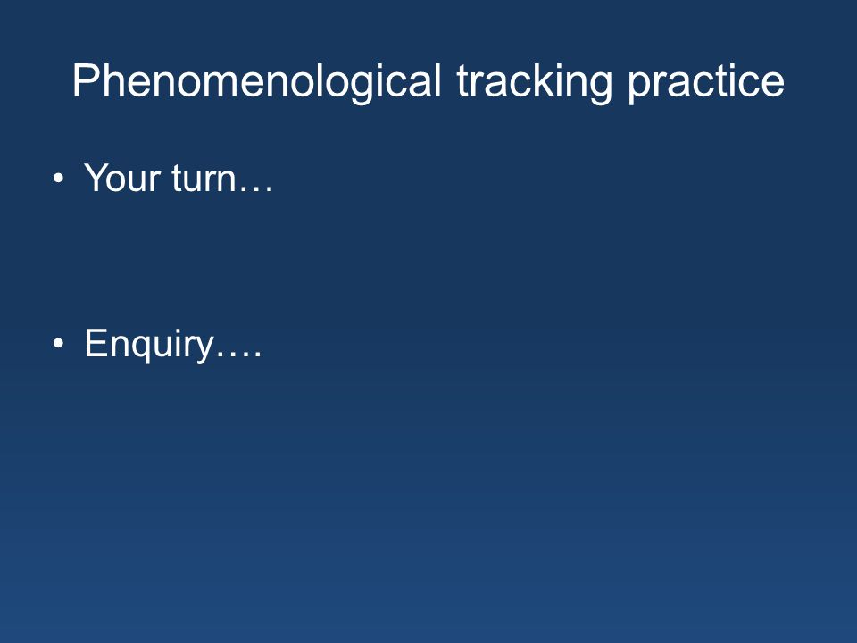 Phenomenological tracking practice Your turn… Enquiry….