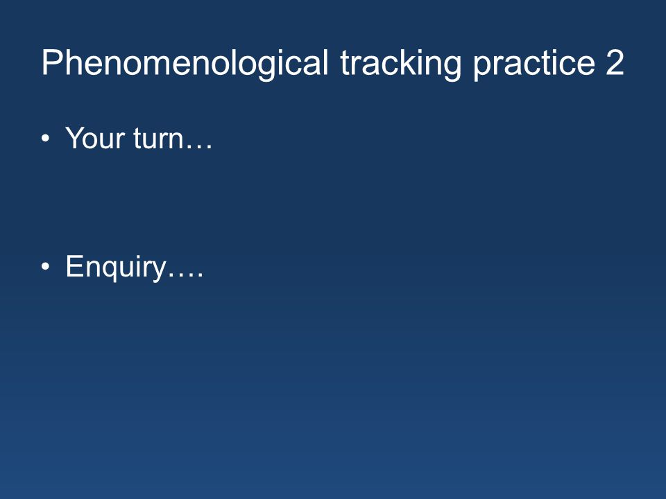 Phenomenological tracking practice 2 Your turn… Enquiry….