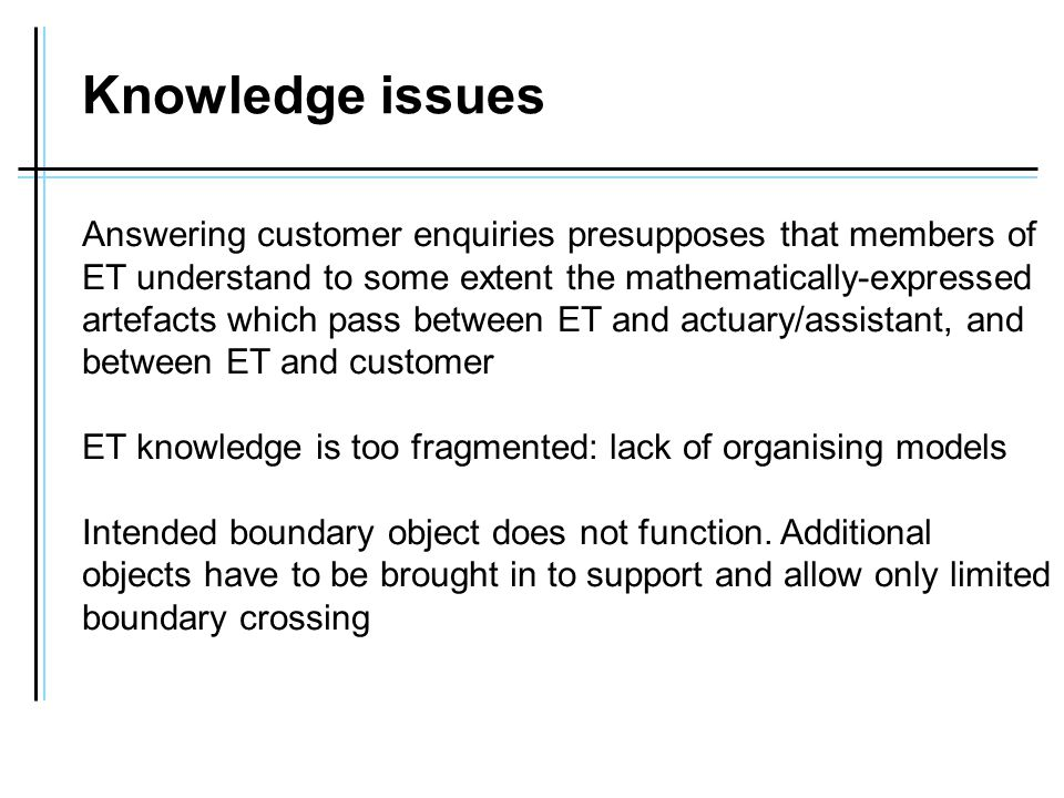 Knowledge issues Answering customer enquiries presupposes that members of ET understand to some extent the mathematically-expressed artefacts which pass between ET and actuary/assistant, and between ET and customer ET knowledge is too fragmented: lack of organising models Intended boundary object does not function.
