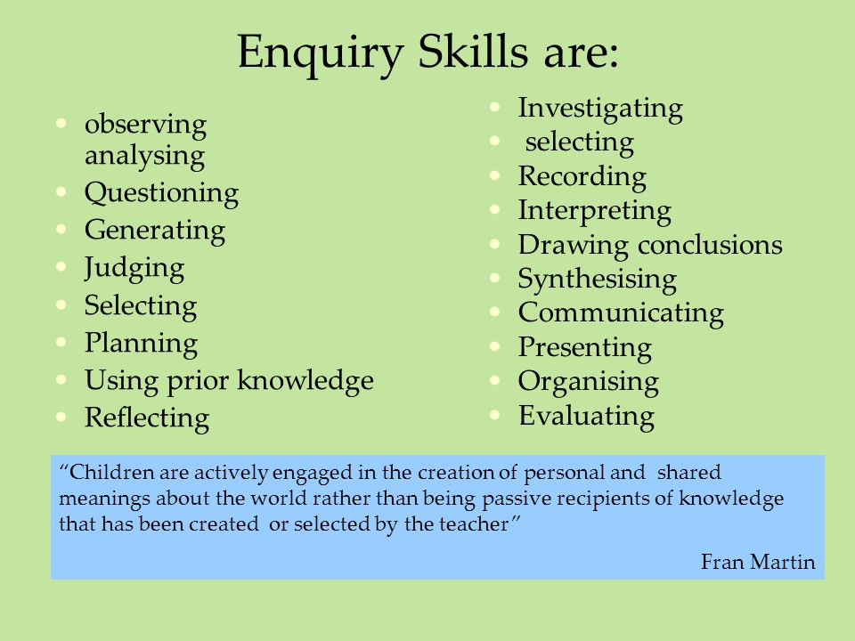 Enquiry Skills are: observing analysing Questioning Generating Judging Selecting Planning Using prior knowledge Reflecting Investigating selecting Rec