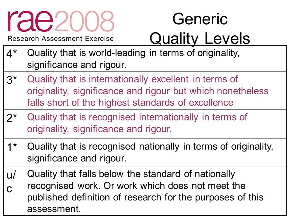 Generic Quality Levels 4* Quality that is world-leading in terms of originality, significance and rigour.