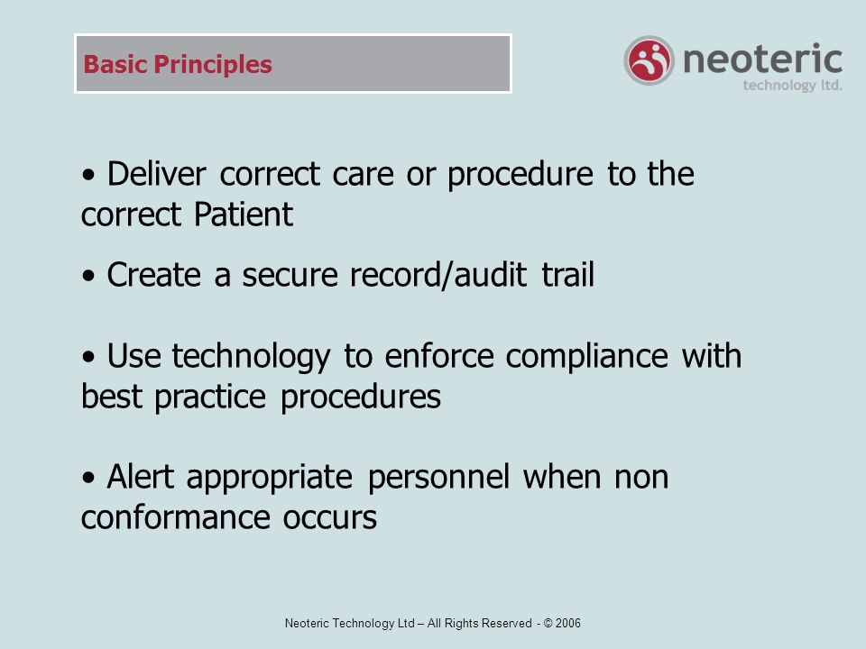Neoteric Technology Ltd – All Rights Reserved - © 2006 Complete Transfusion - Report All BloodTrack SafeTx transaction data is transmitted to the BloodTrack database via the cradle or wireless network