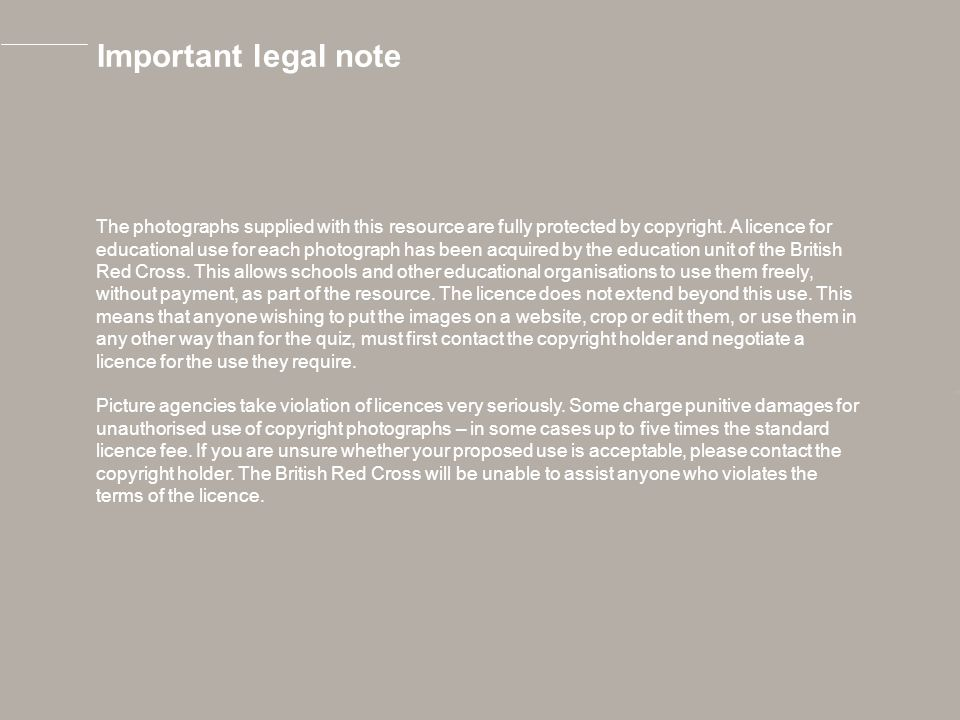 Important legal note The photographs supplied with this resource are fully protected by copyright.