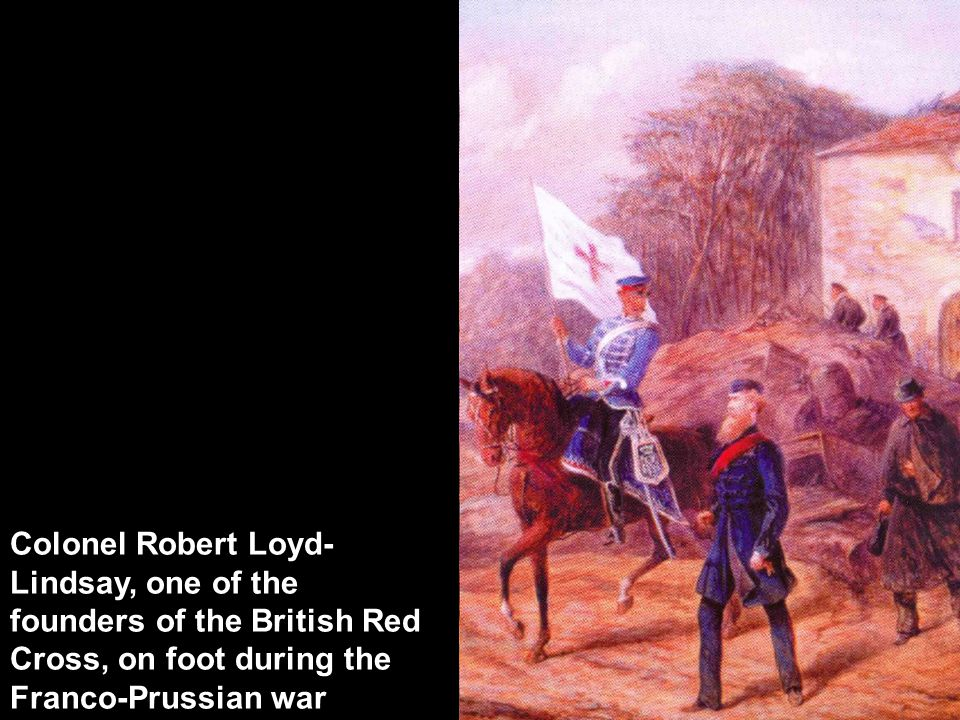 Colonel Robert Loyd- Lindsay, one of the founders of the British Red Cross, on foot during the Franco-Prussian war