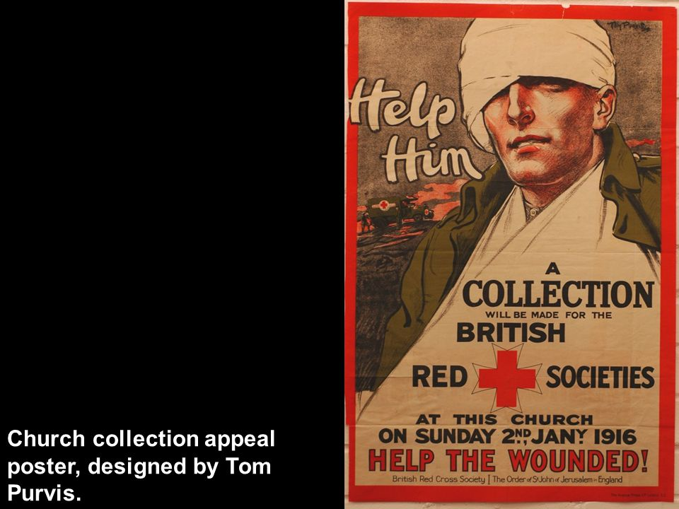 Church collection appeal poster, designed by Tom Purvis.
