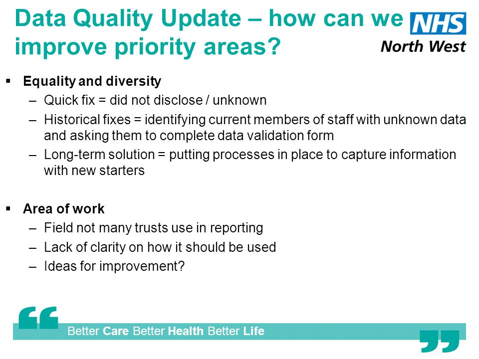 Better Care Better Health Better Life Data Quality Update – how can we improve priority areas.