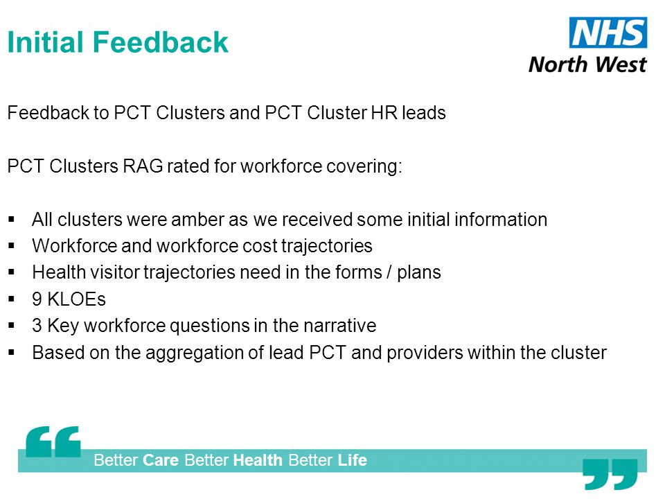 Better Care Better Health Better Life Initial Feedback Feedback to PCT Clusters and PCT Cluster HR leads PCT Clusters RAG rated for workforce covering:  All clusters were amber as we received some initial information  Workforce and workforce cost trajectories  Health visitor trajectories need in the forms / plans  9 KLOEs  3 Key workforce questions in the narrative  Based on the aggregation of lead PCT and providers within the cluster