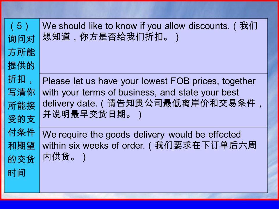 ( 5 ) 询问对 方所能 提供的 折扣, 写清你 所能接 受的支 付条件 和期望 的交货 时间 We should like to know if you allow discounts.