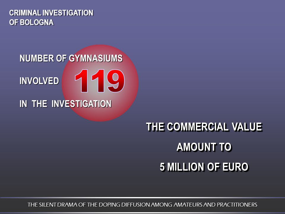 NUMBER OF GYMNASIUMS INVOLVED IN THE INVESTIGATION THE COMMERCIAL VALUE AMOUNT TO 5 MILLION OF EURO THE COMMERCIAL VALUE AMOUNT TO 5 MILLION OF EURO THE SILENT DRAMA OF THE DOPING DIFFUSION AMONG AMATEURS AND PRACTITIONERS CRIMINAL INVESTIGATION OF BOLOGNA CRIMINAL INVESTIGATION OF BOLOGNA