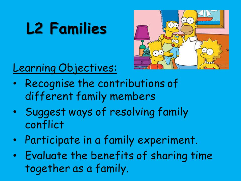 L2 Families Learning Objectives: Recognise the contributions of different family members Suggest ways of resolving family conflict Participate in a fa