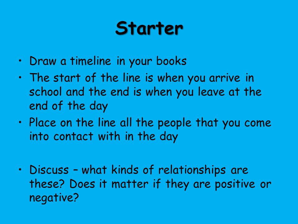 Starter Draw a timeline in your books The start of the line is when you arrive in school and the end is when you leave at the end of the day Place on