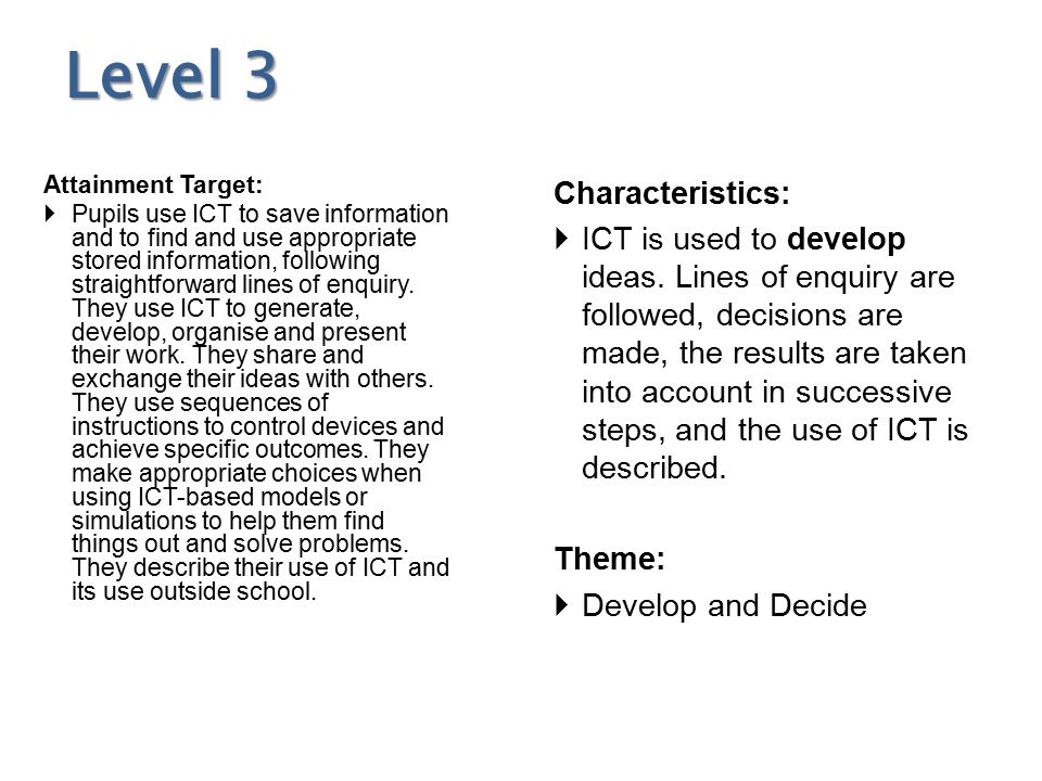 Level 3 Attainment Target:  Pupils use ICT to save information and to find and use appropriate stored information, following straightforward lines of enquiry.