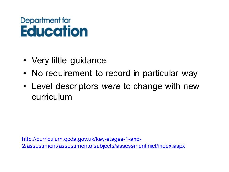 Very little guidance No requirement to record in particular way Level descriptors were to change with new curriculum http://curriculum.qcda.gov.uk/key-stages-1-and- 2/assessment/assessmentofsubjects/assessmentinict/index.aspx