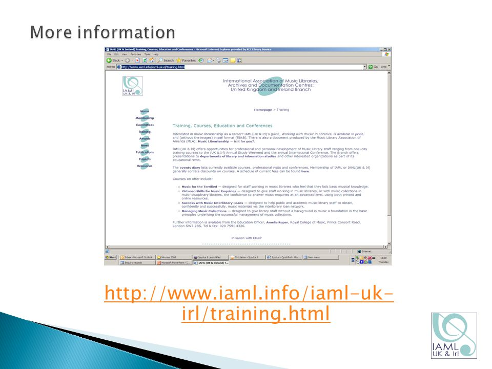 http://www.iaml.info/iaml-uk- irl/training.html