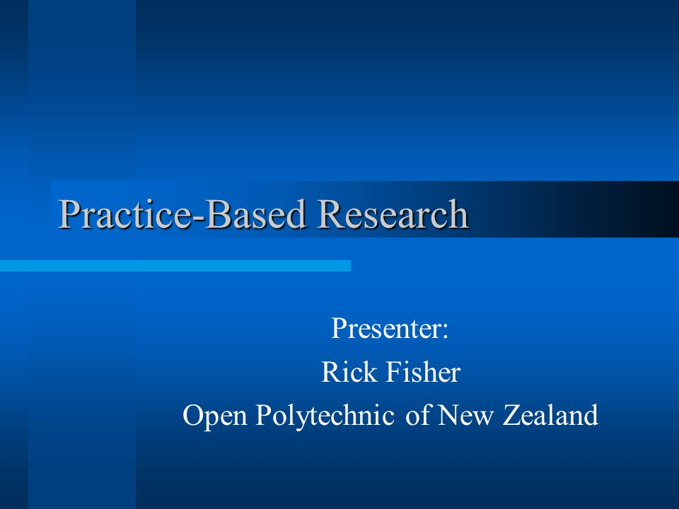 Goals To define PBR To contrast PBR with other types of research To highlight the importance of PBR to New Zealand's research environment To brainstorm some simple PBR methodologies