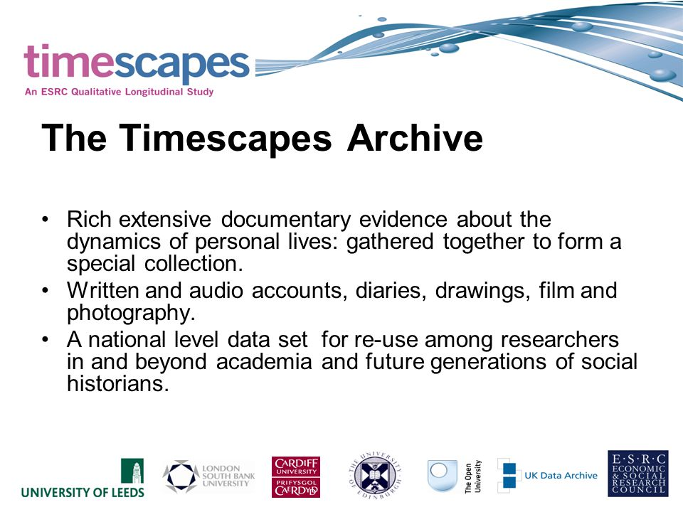The Timescapes Archive Rich extensive documentary evidence about the dynamics of personal lives: gathered together to form a special collection.