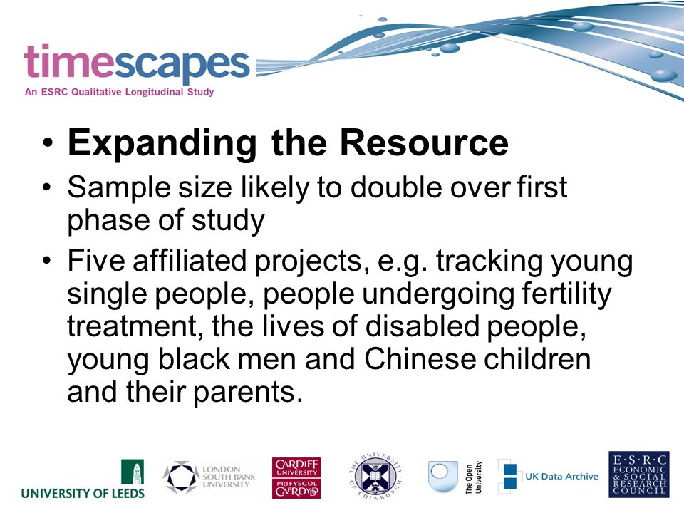 Expanding the Resource Sample size likely to double over first phase of study Five affiliated projects, e.g. tracking young single people, people unde