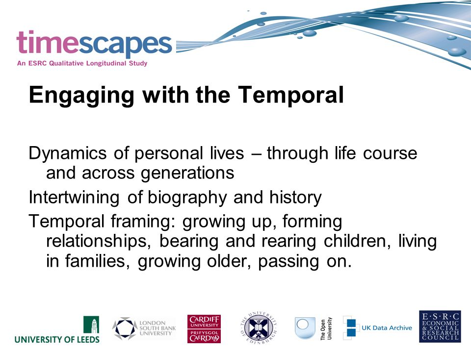 Engaging with the Temporal Dynamics of personal lives – through life course and across generations Intertwining of biography and history Temporal framing: growing up, forming relationships, bearing and rearing children, living in families, growing older, passing on.