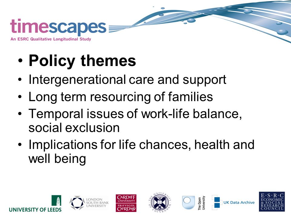 Policy themes Intergenerational care and support Long term resourcing of families Temporal issues of work-life balance, social exclusion Implications for life chances, health and well being
