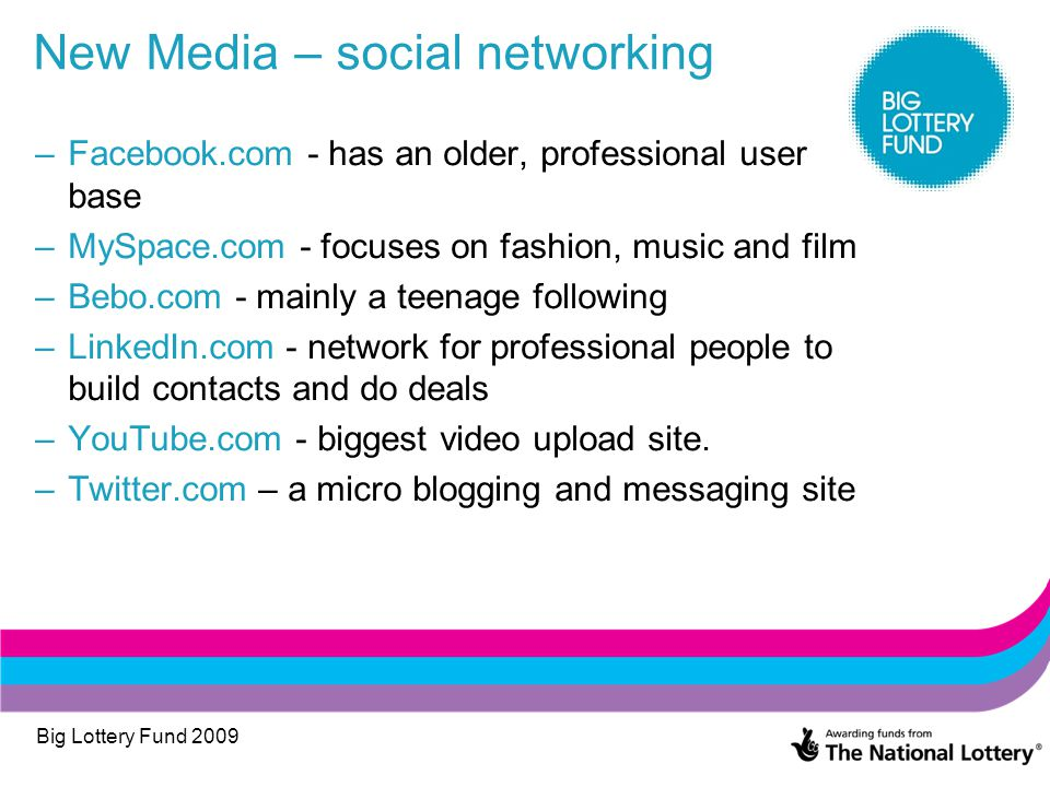 Big Lottery Fund 2009 New Media – social networking –Facebook.com - has an older, professional user base –MySpace.com - focuses on fashion, music and