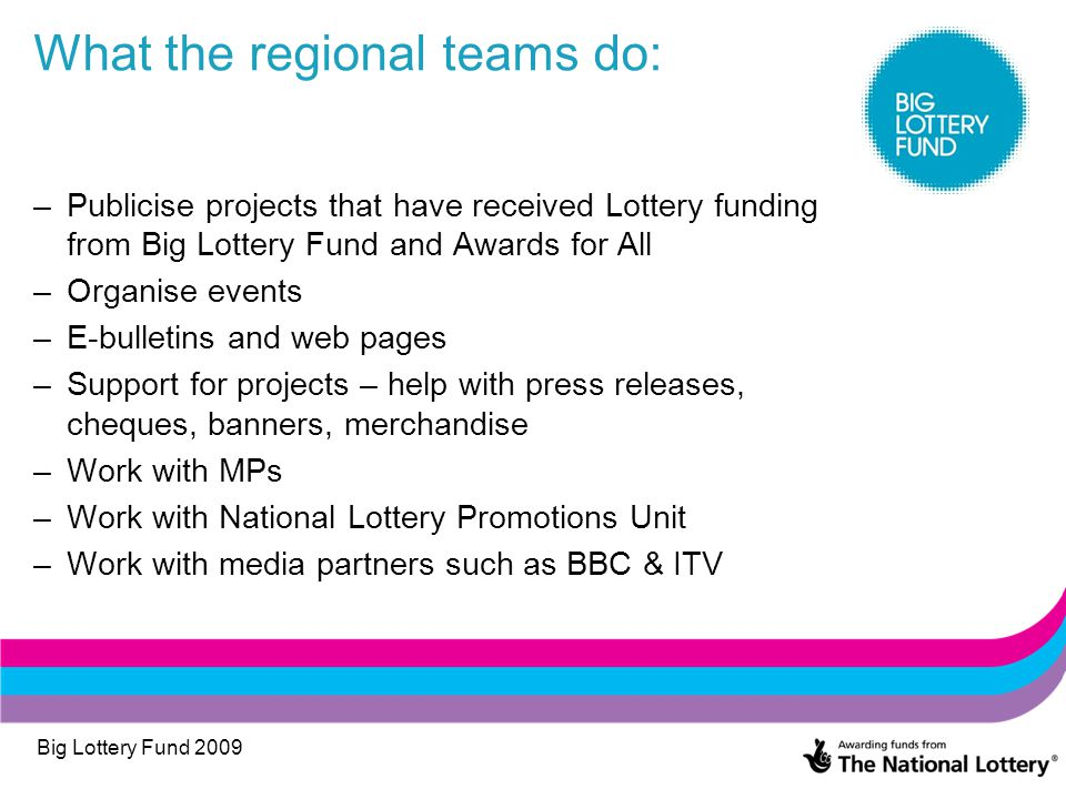 Big Lottery Fund 2009 What the regional teams do: –Publicise projects that have received Lottery funding from Big Lottery Fund and Awards for All –Org