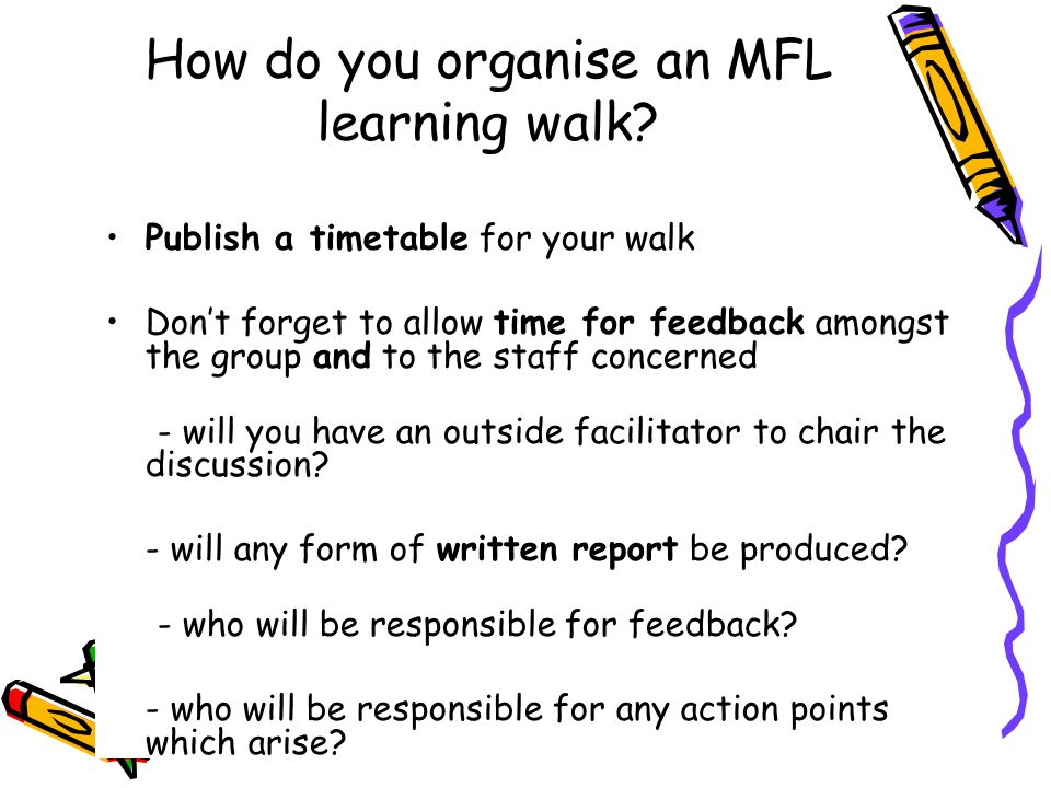 How do you organise an MFL learning walk.