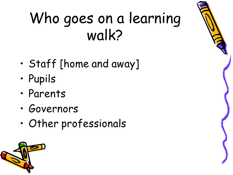 Who goes on a learning walk Staff [home and away] Pupils Parents Governors Other professionals